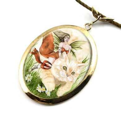 Cat Fairy BIG Art Pendant